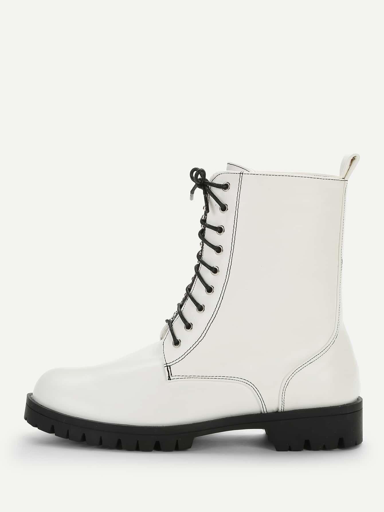 Купить Однотонные сапоги с шнурками и заклёпками, null, SheIn