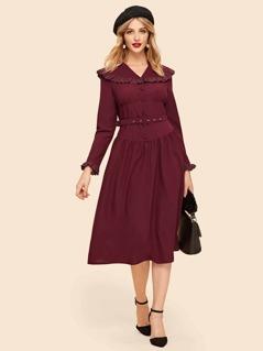 Button Front Contrast Lace Trim Dress