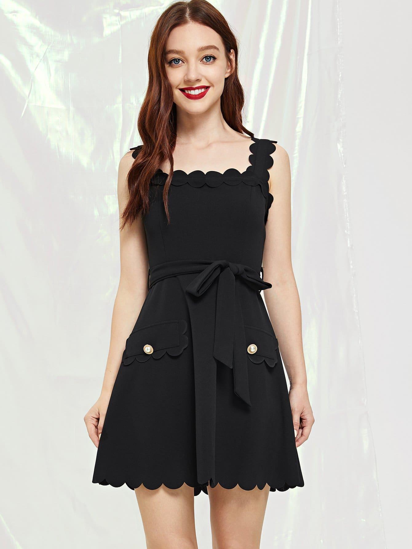 Купить Твердое платье с карманом, Poly, SheIn