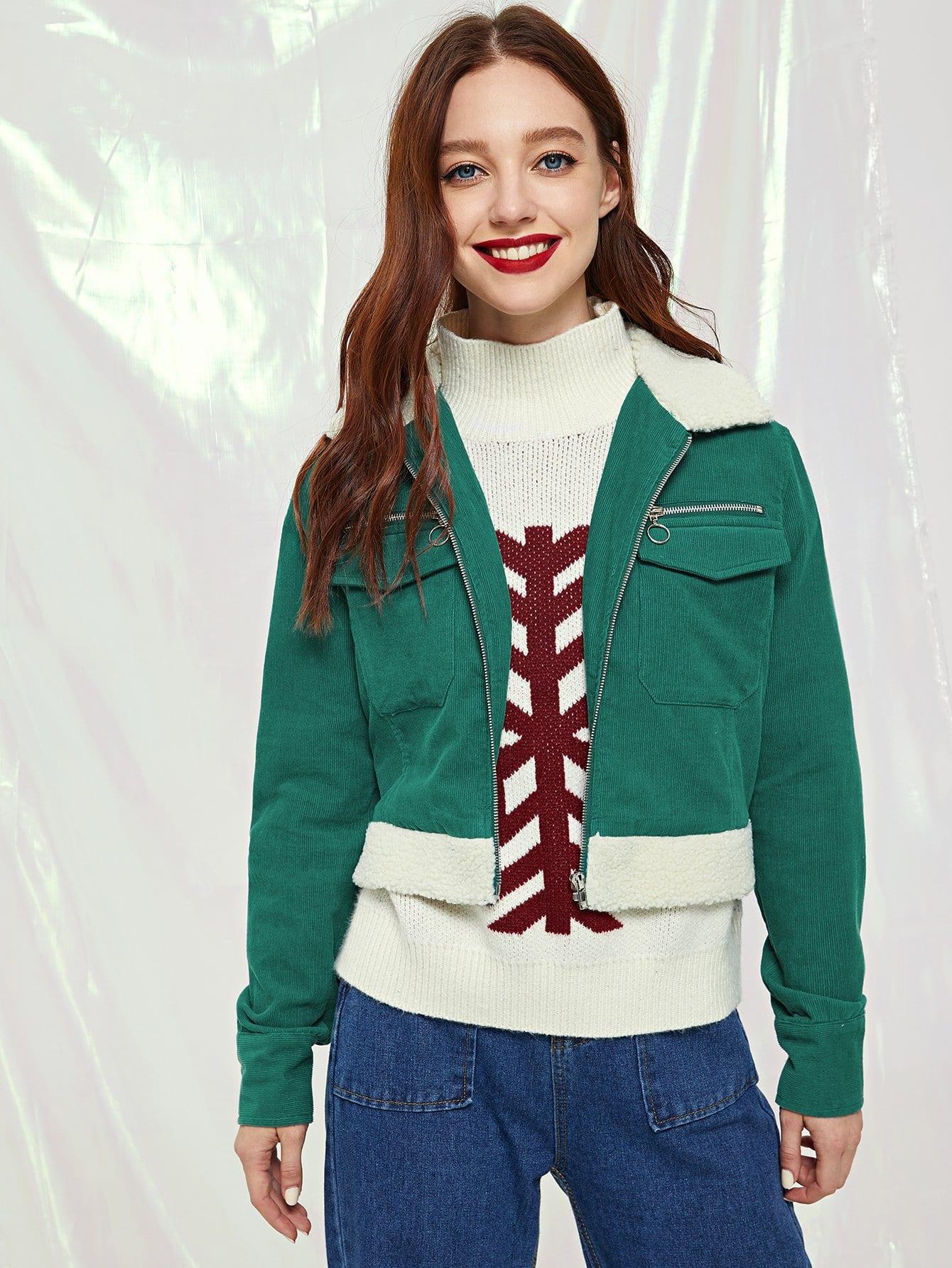 Купить Куртка из искусственного меха на молнии с карманом, Poly, SheIn