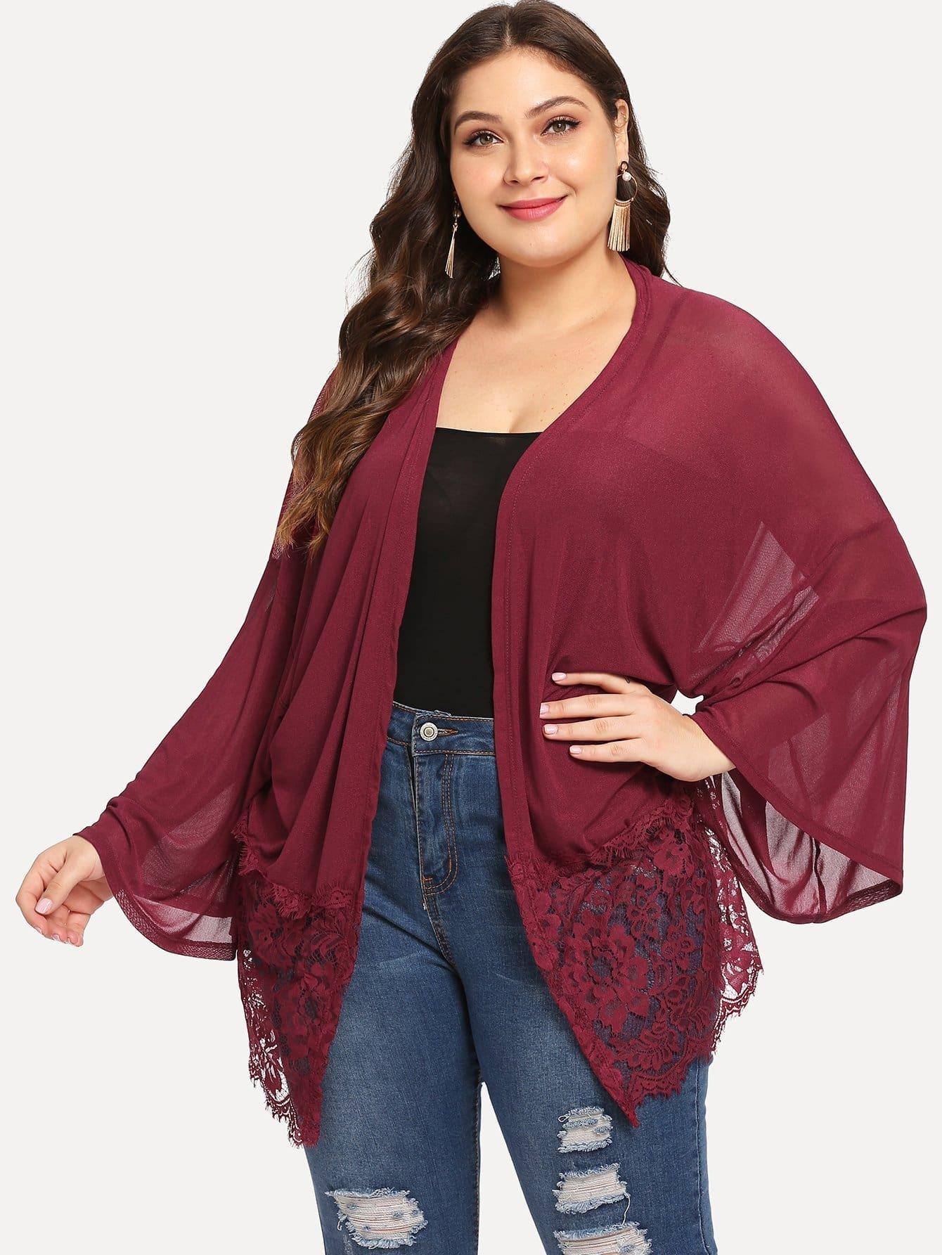 Купить Плюс размеры прозрачное кимоно с кружевным низом, Carol, SheIn
