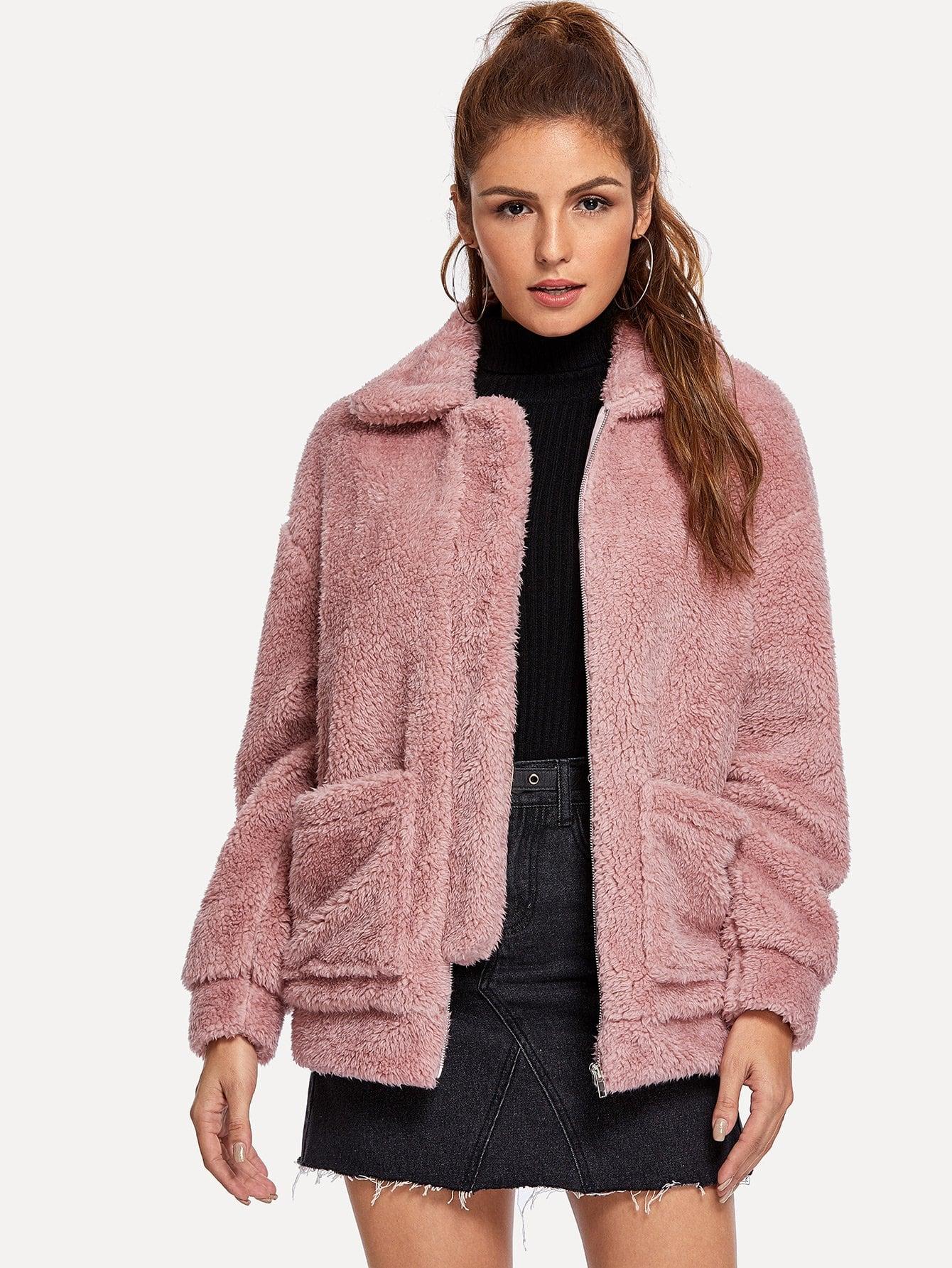 Купить Тедди пальто на молнии с карманом, Lisa A, SheIn