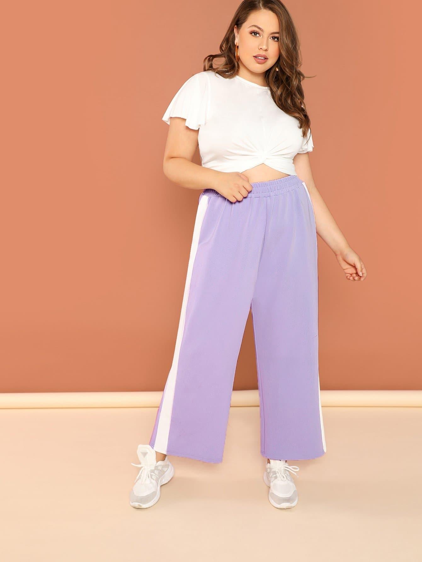Купить Плюс размеры контрастные широкие брюки, Bailey Carr, SheIn