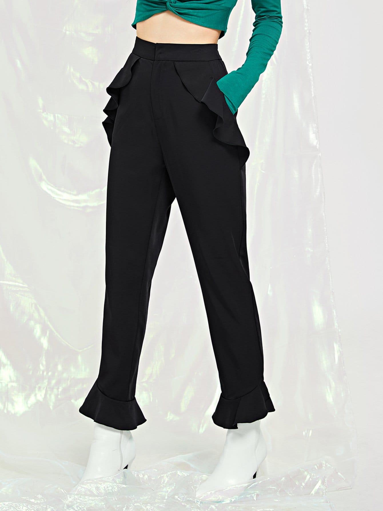 Твердые брюки с оборкой отделкой SheIn