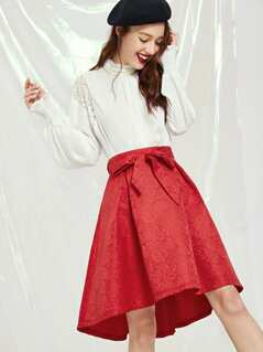 Self Belted High Low Jacquard Skirt