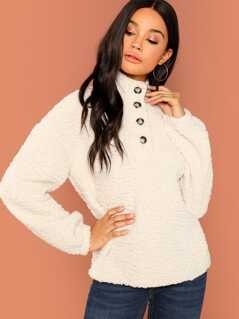 Button Front Teddy Sweatshirt