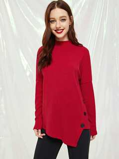 Turtle Neck Rib Knot Asymmetrical Tee