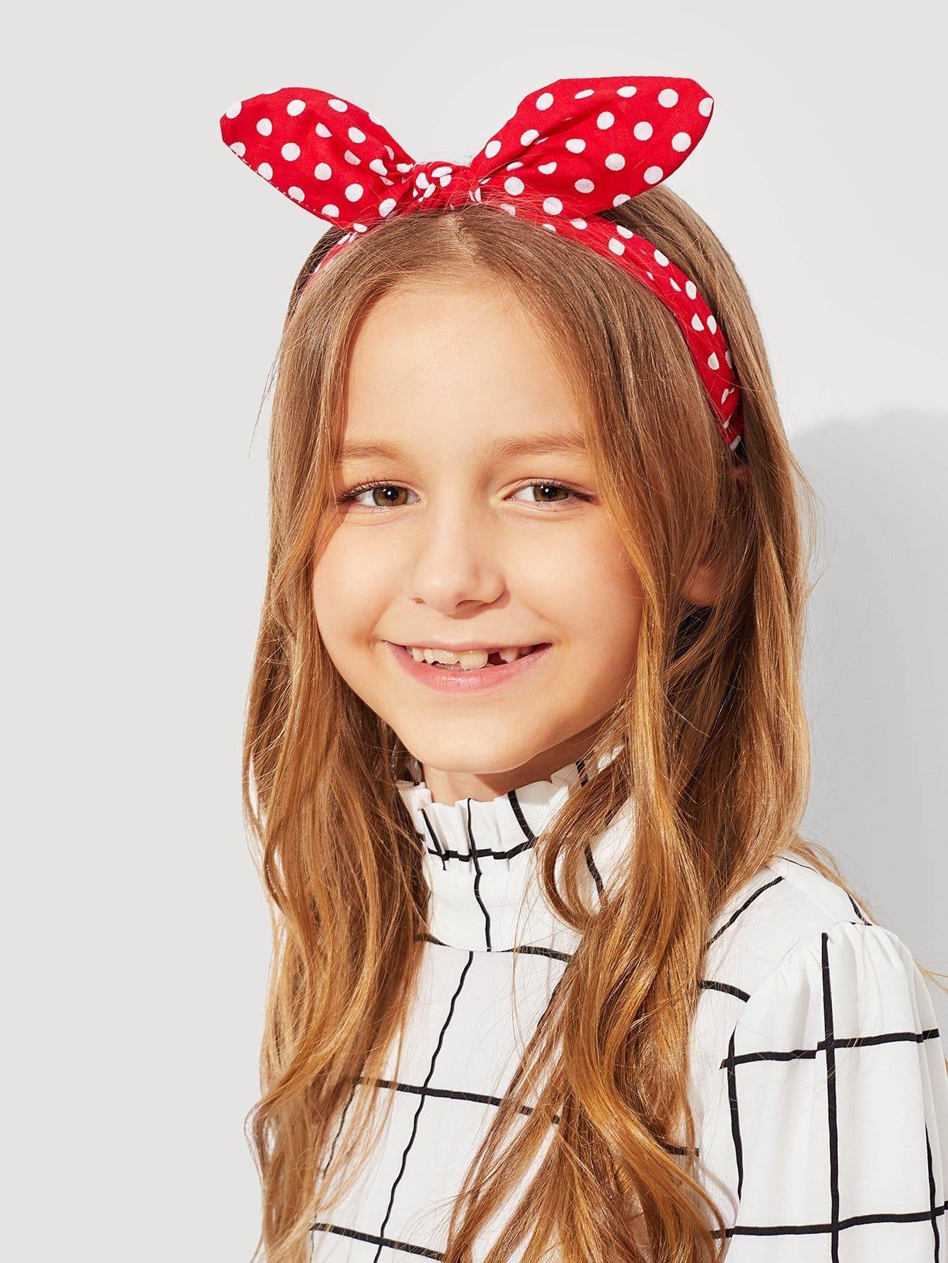 Купить Ободок для волос и с рисунками точки и с украшением банта для девочки, null, SheIn