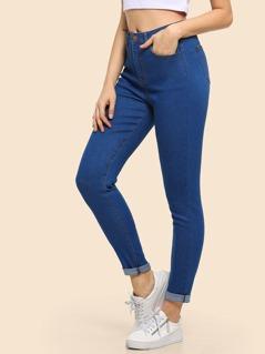Rolled Up Hem Skinny Jeans