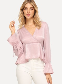 Wrap Knot V-Neck Bell Sleeve Peplum Top