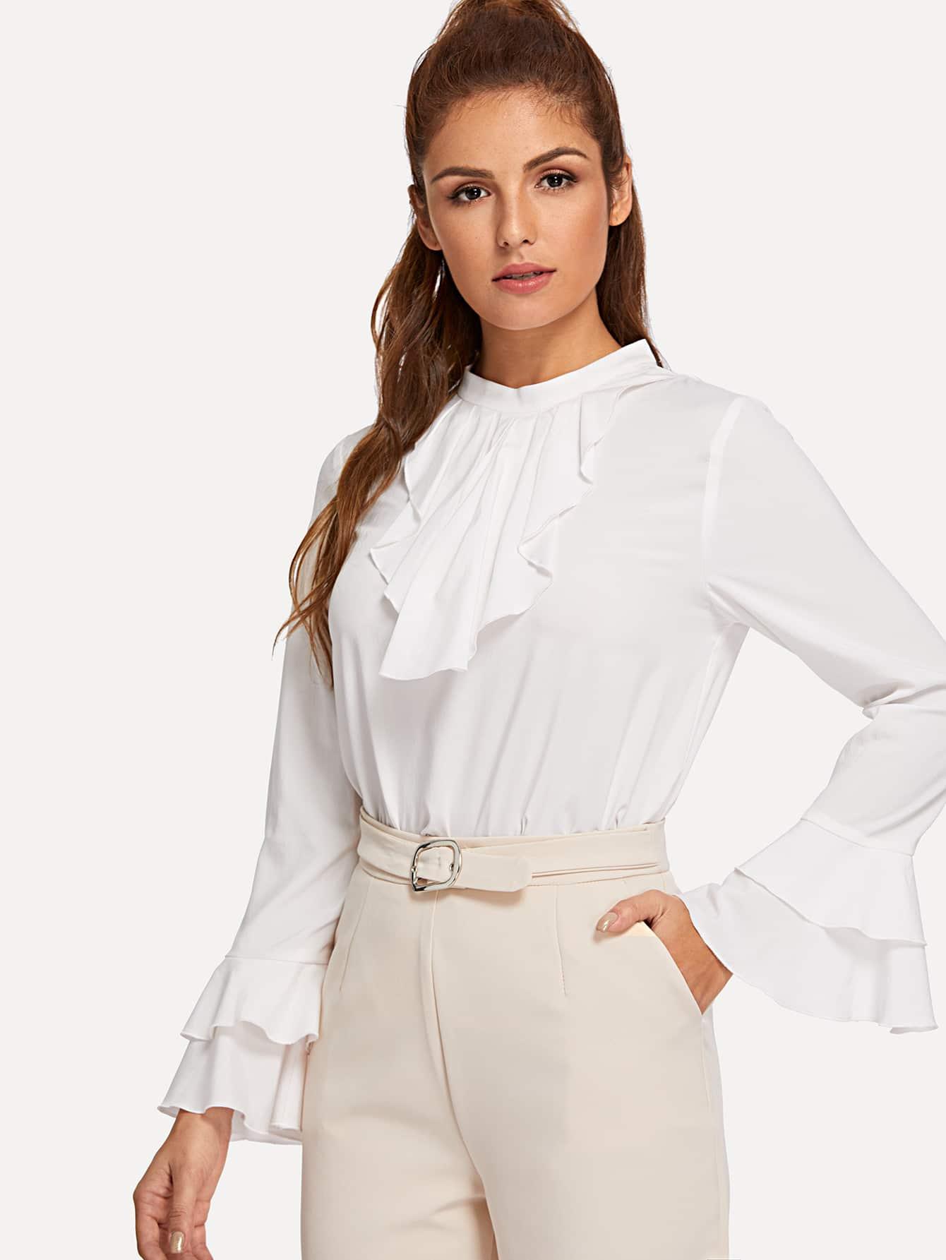 Купить Блузка с Белл-рукавом с ложным вырезом, Lisa A, SheIn