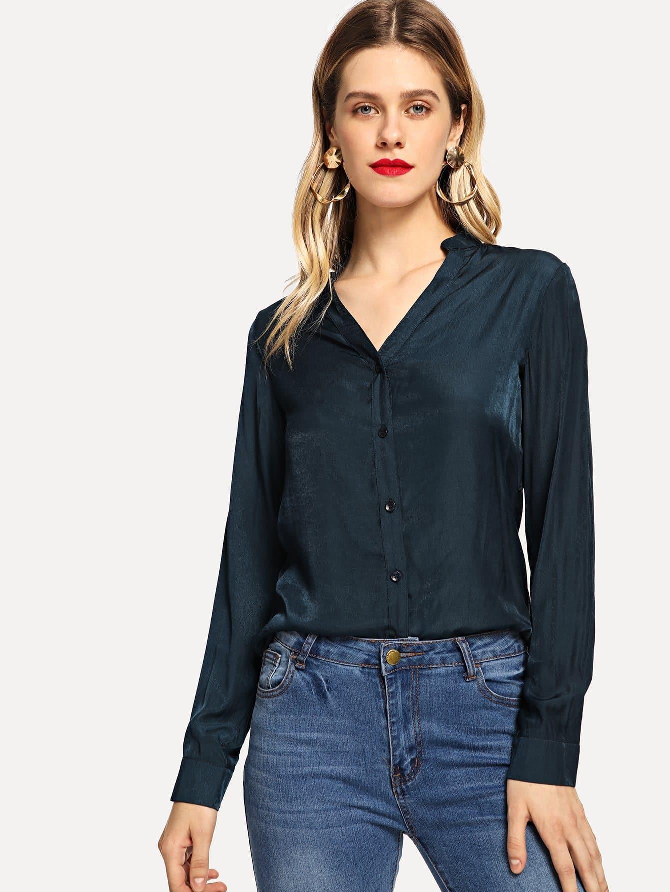 Купить Блузка на пуговицах с ложным воротником, Victoriab, SheIn