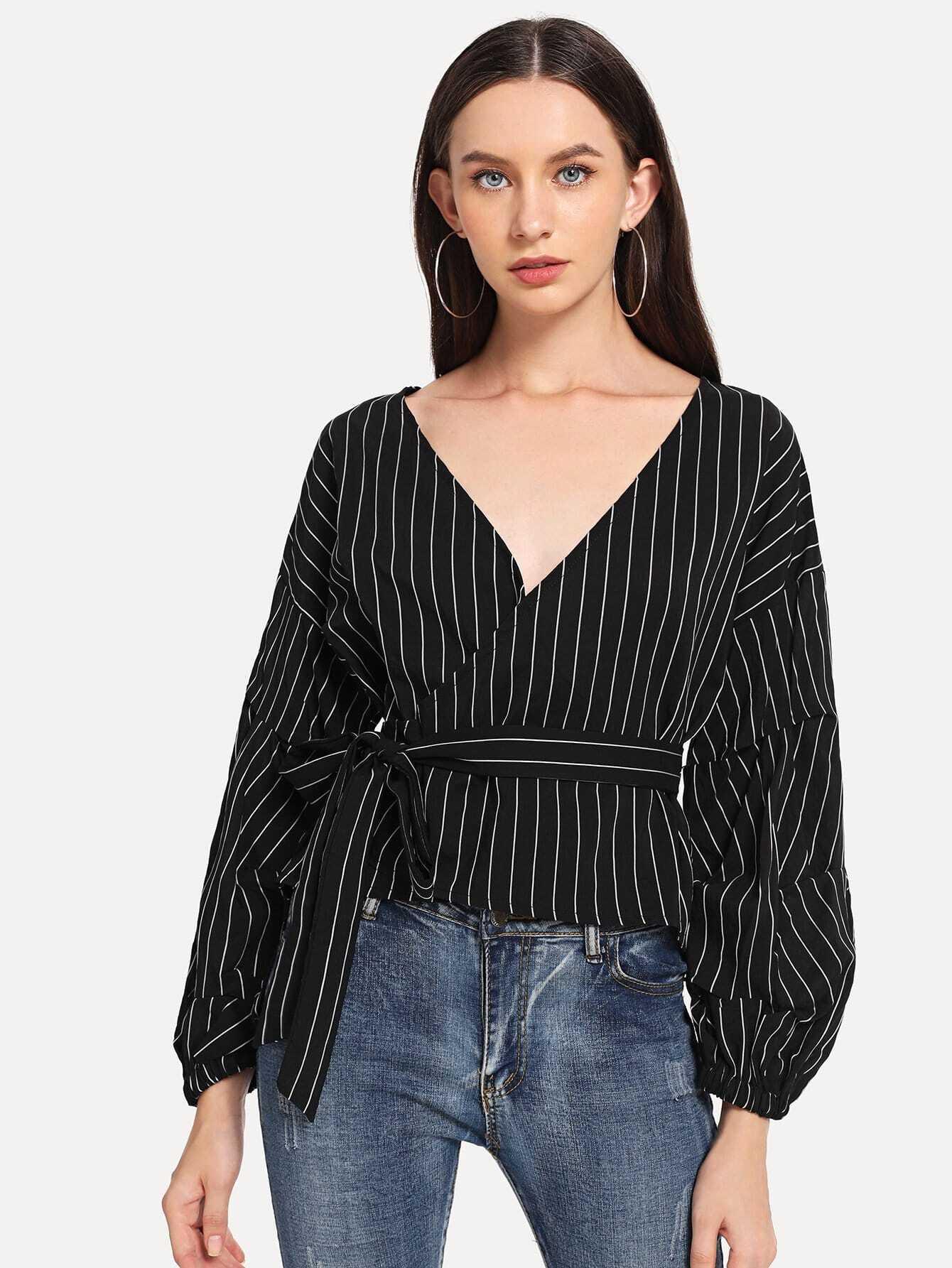 Купить Полосатая блуза V-образным вырезом и бантом, Kate B, SheIn