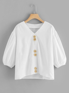 Button Through Bishop Sleeve Top