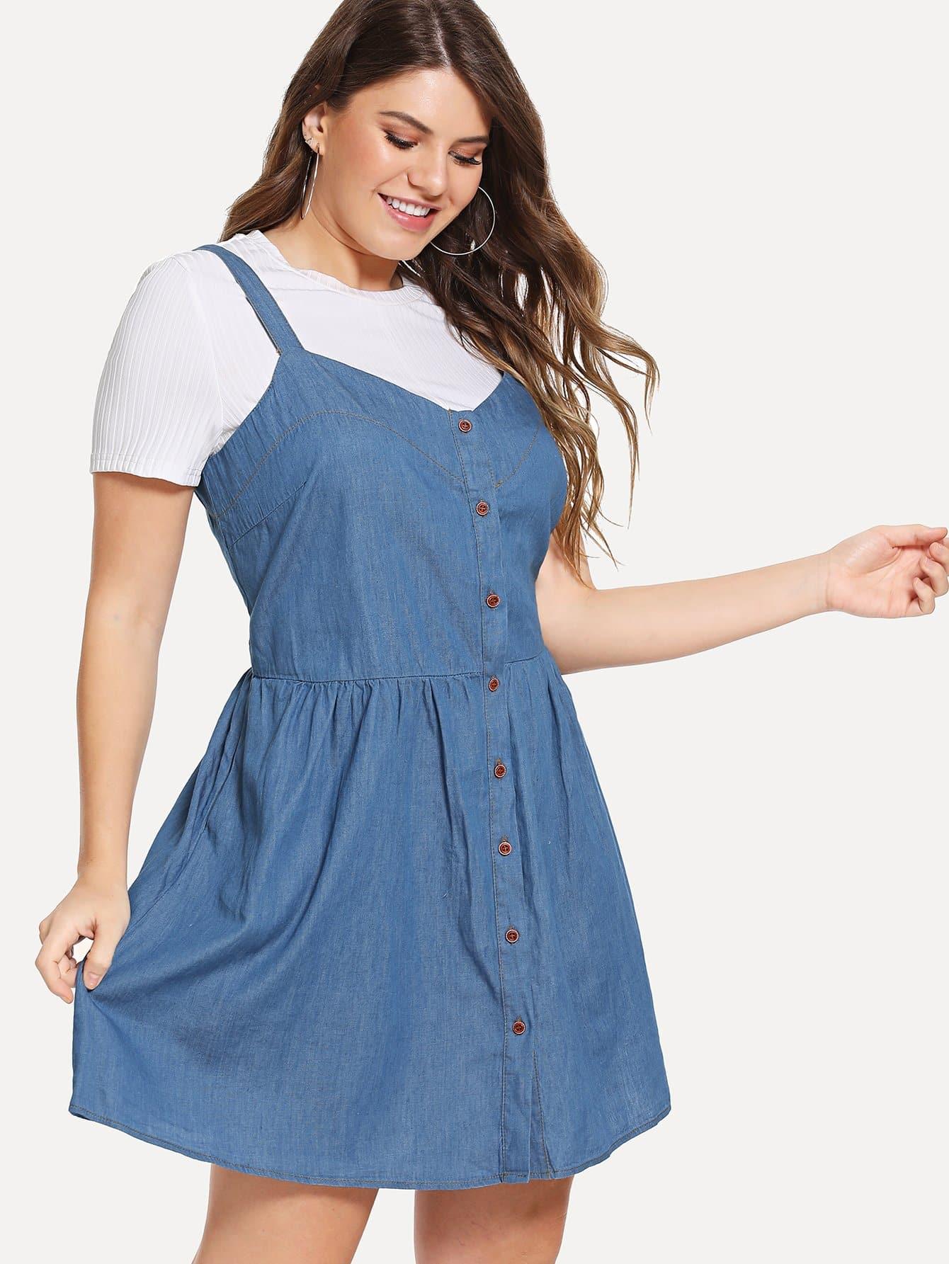 Купить Платье джинсовой ткани, Isabela, SheIn
