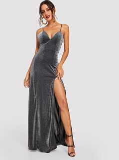 High Split Glitter Cami Maxi Prom Dress