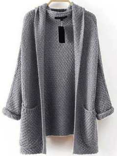 Pocket Front Textured Hooded Sweater Coat