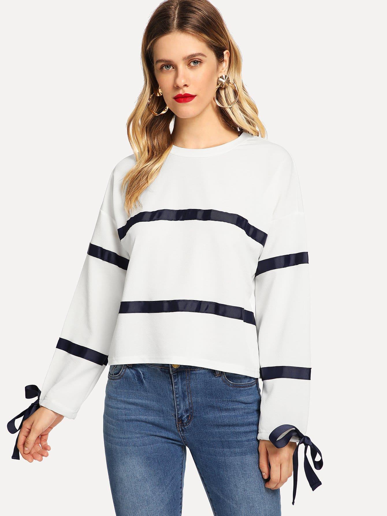 Купить Туника пуловер в полоску со узлом, Victoriab, SheIn