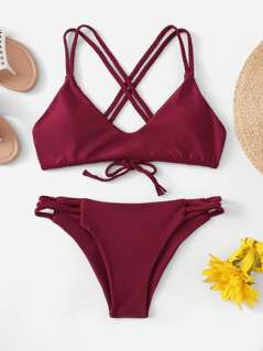 Criss Cross Top With Braided Detail Bikini Set