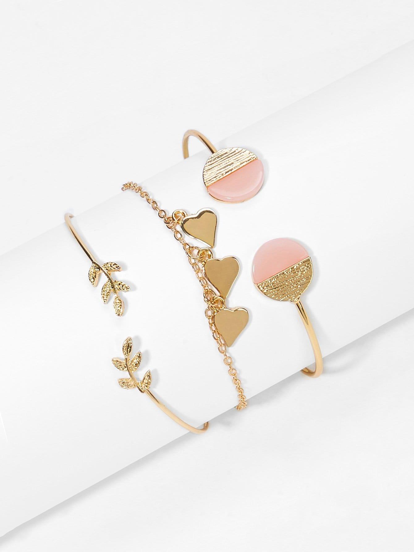 Фото - Комплект браслета с украшением сердца и листа 3 шт от SheIn цвет золотые