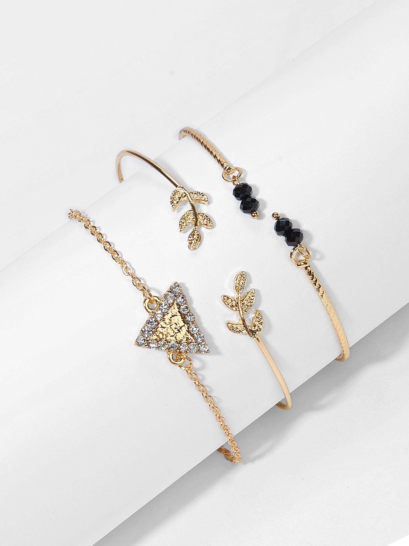 Фото - Комплект браслета с украшением ажурной треуголика из горных хрусталей и листа 3 шт от SheIn цвет золотые