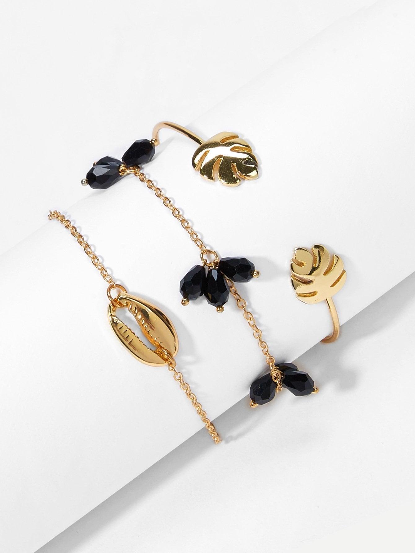 Фото - Комплект браслета с украшением ажурной тропического листа и ракушки 3 шт от SheIn цвет золотые