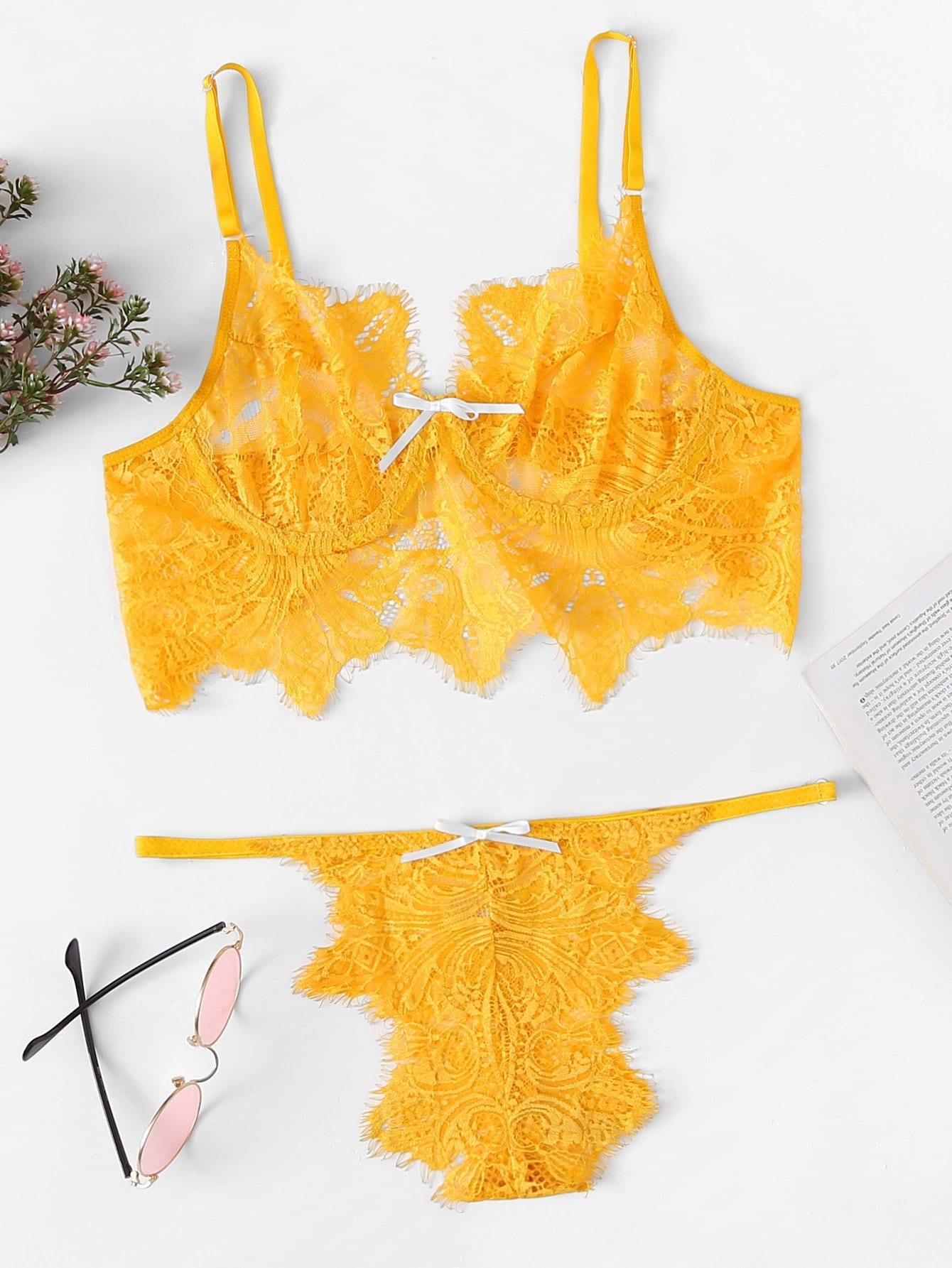 Фото - Ресницы кружевный комплект белья от SheIn желтого цвета