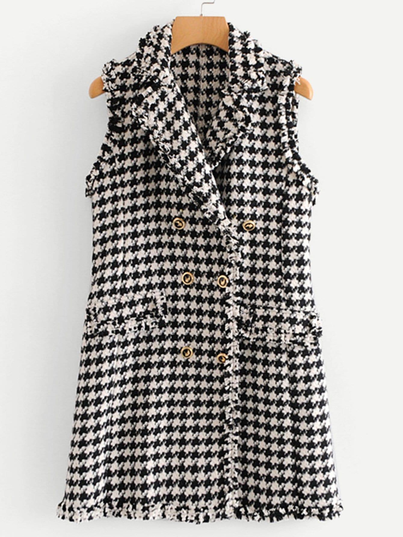 Фото - Двубортная твидовая куртка в клетку от SheIn цвет чёрнобелые