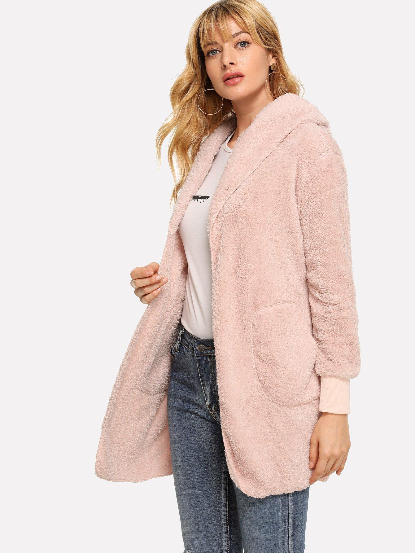 Фото - Шерстяная куртка с капюшоном и карманами от SheIn розового цвета