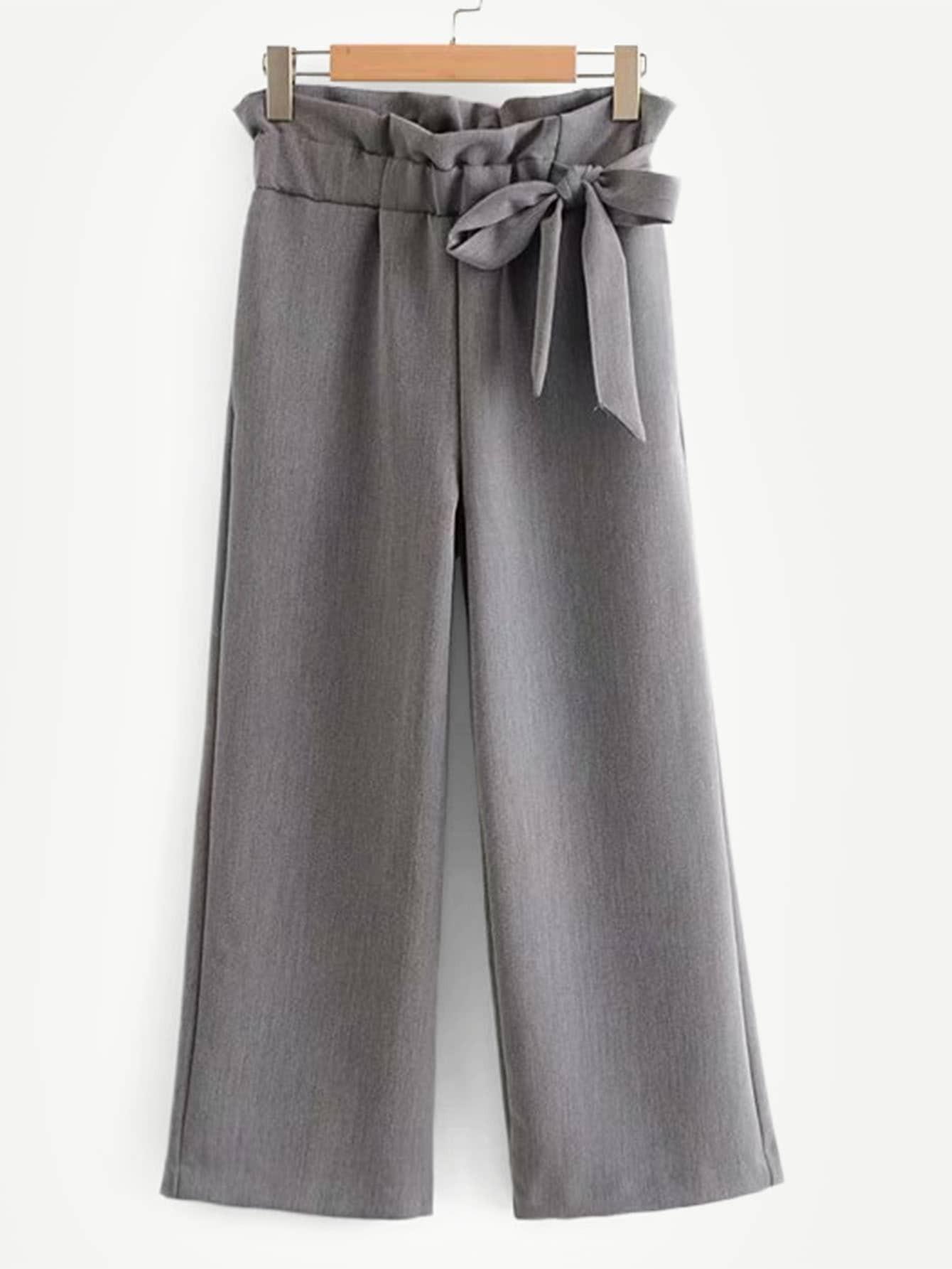 Купить Одноцветные широкие ножные штаны с бантом, null, SheIn