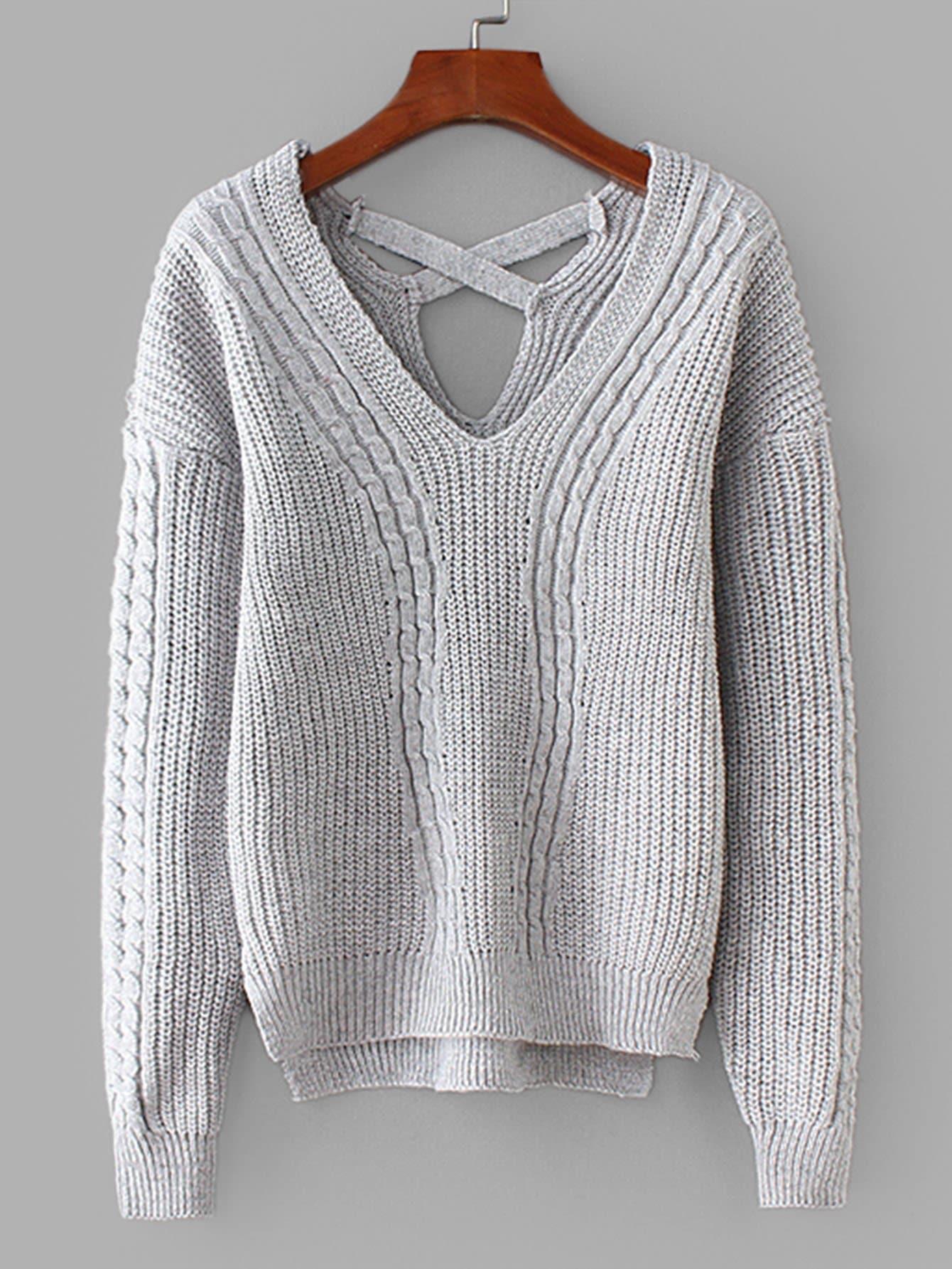 Купить Вязаный асимметричный свитер крест-на-крест назад, null, SheIn
