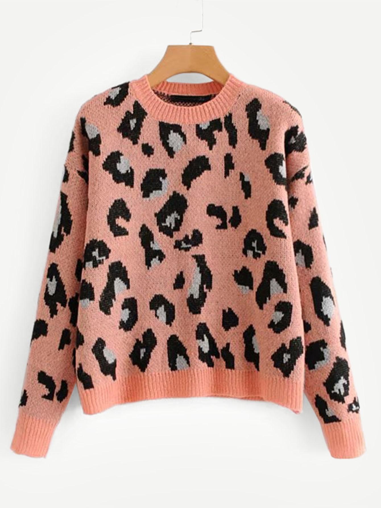 Фото - Леопардовый свитер с заниженной линией плеч от SheIn разноцветного цвета