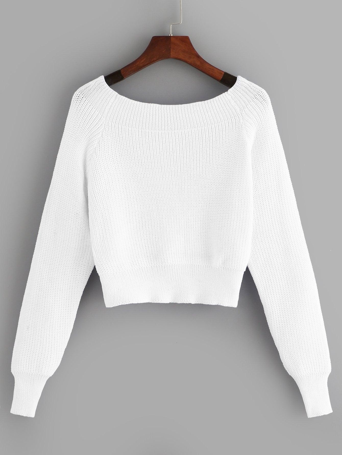 Фото - Одноцветный свитер с открытыми плечами от SheIn белого цвета