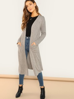 Open Front Brushed Knit Long Duster Cardigan