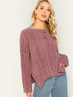 Chenille Soft Knit Pullover Long Sleeve Sweater