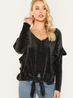 Ruffle Sleeve Tie Front Soft Knit Pullover Sweater