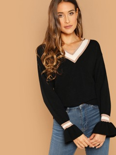V-Neck Contrast Stripe Ruffle Cuff Knit Sweater