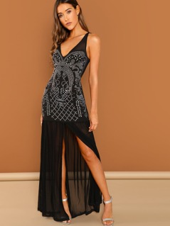 Rhinestone Sleeveless Mesh Skirt V-Neck Gown