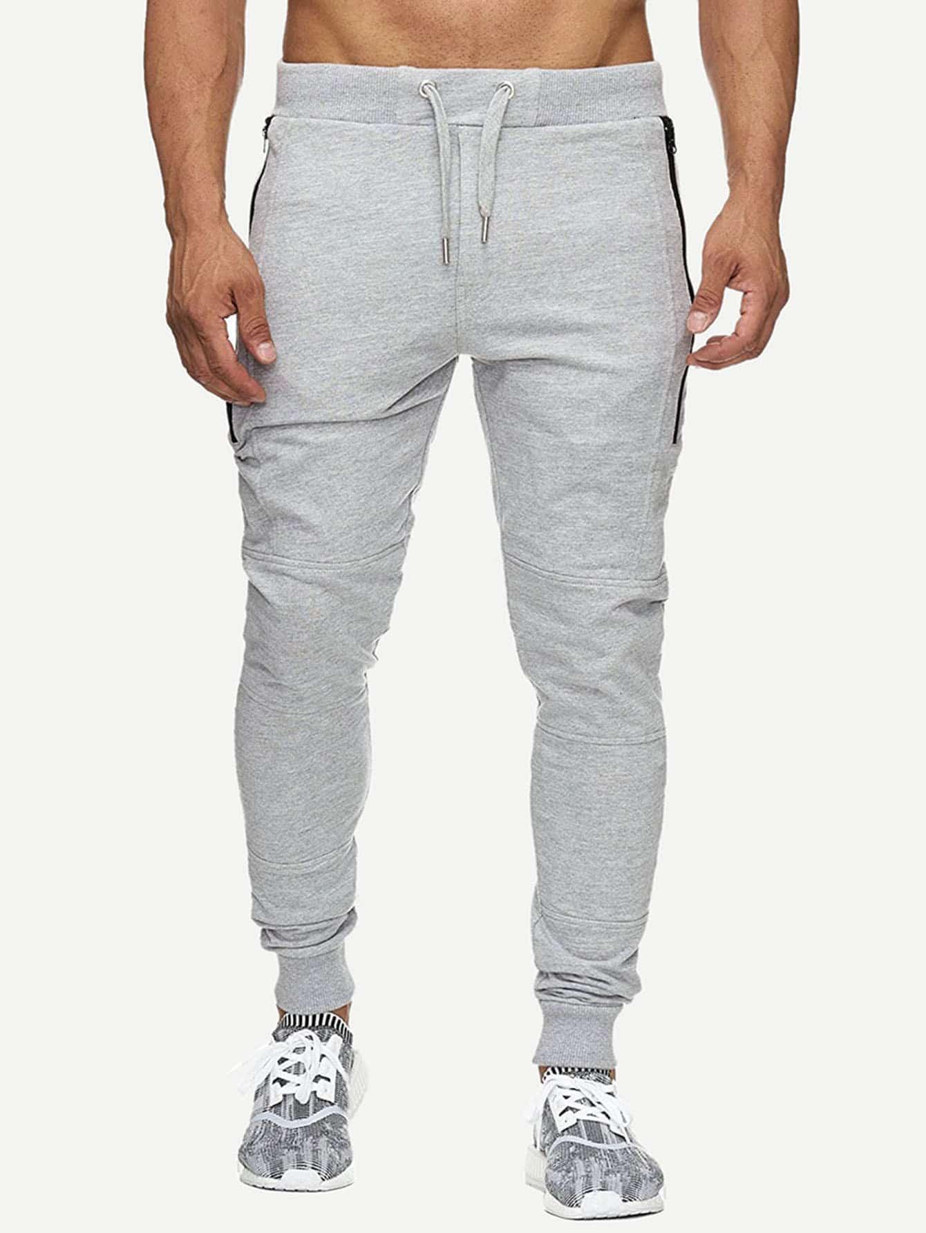 Купить Мужские брюки с кулиской и застёжкой молния, null, SheIn
