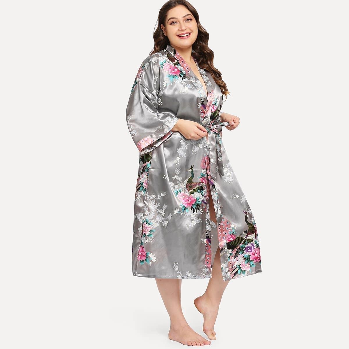 Plus Peacock & Flower Print Zelf Tie Robe