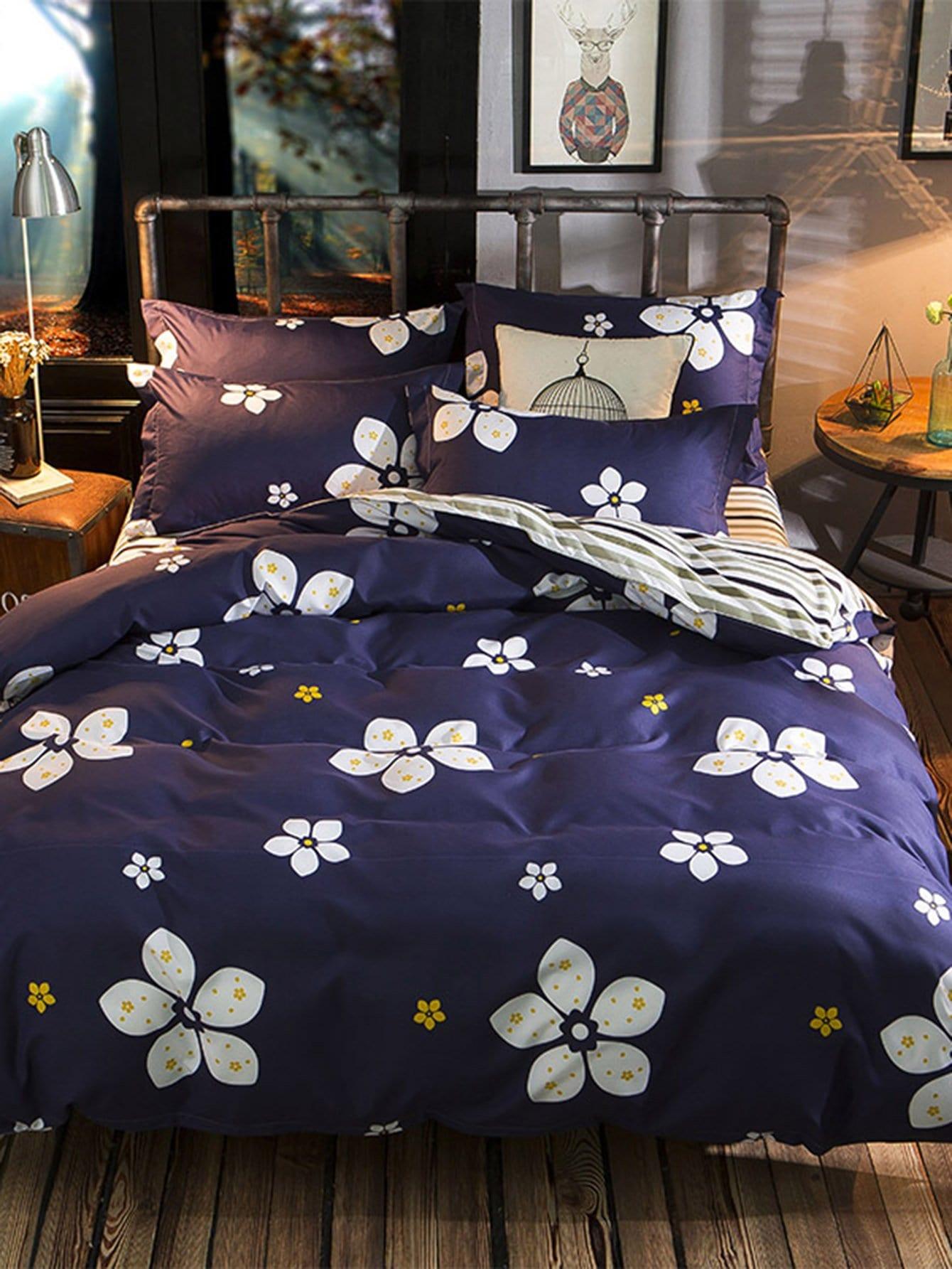 Купить Комплект полосатого постельного белья с принтом цветочным, null, SheIn