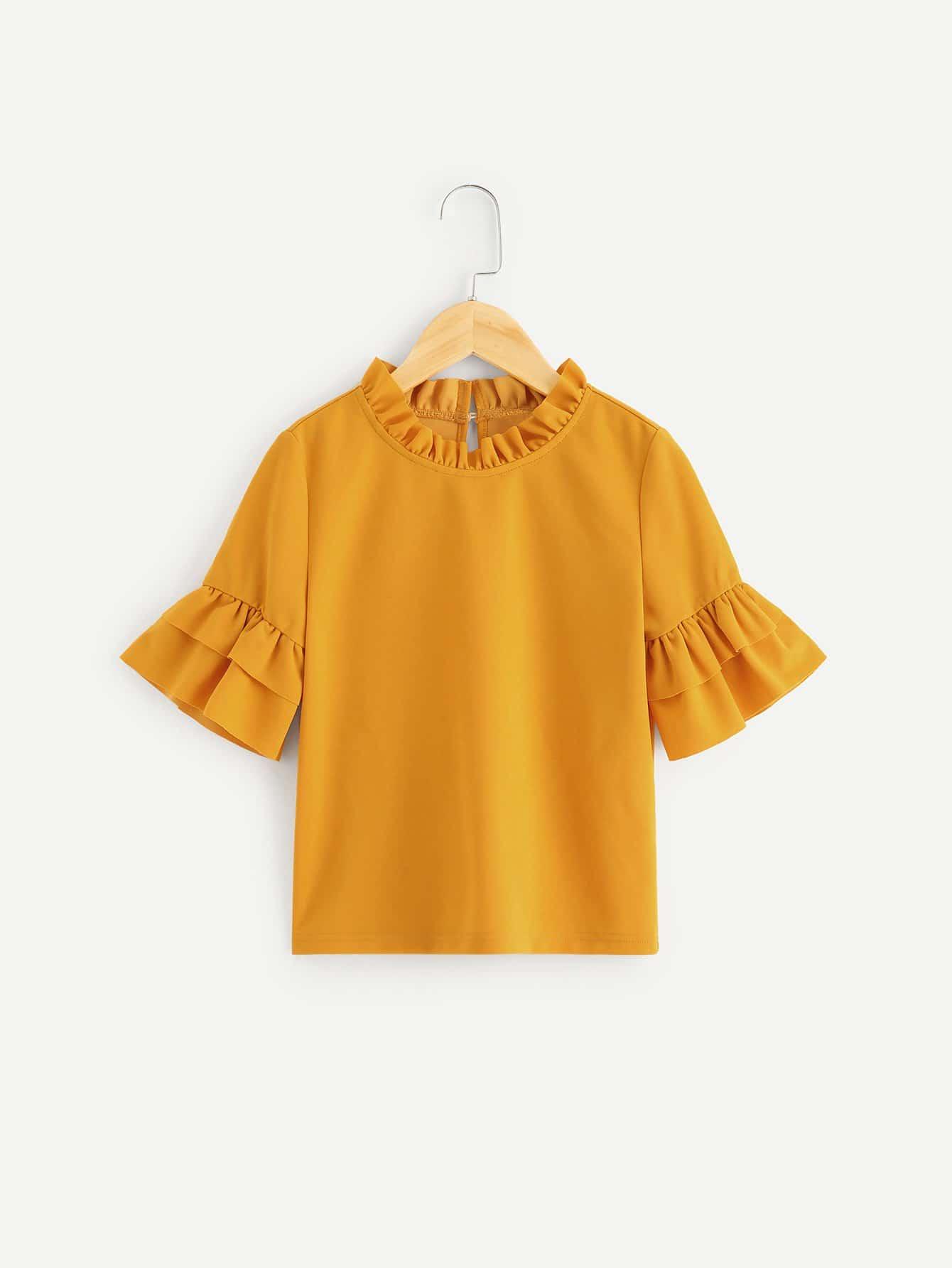 Купить Для девочек блузка с оборками рукавами со складками, null, SheIn