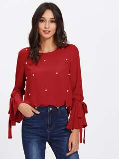 Tied Bell Sleeve Faux Pearl Studded Top