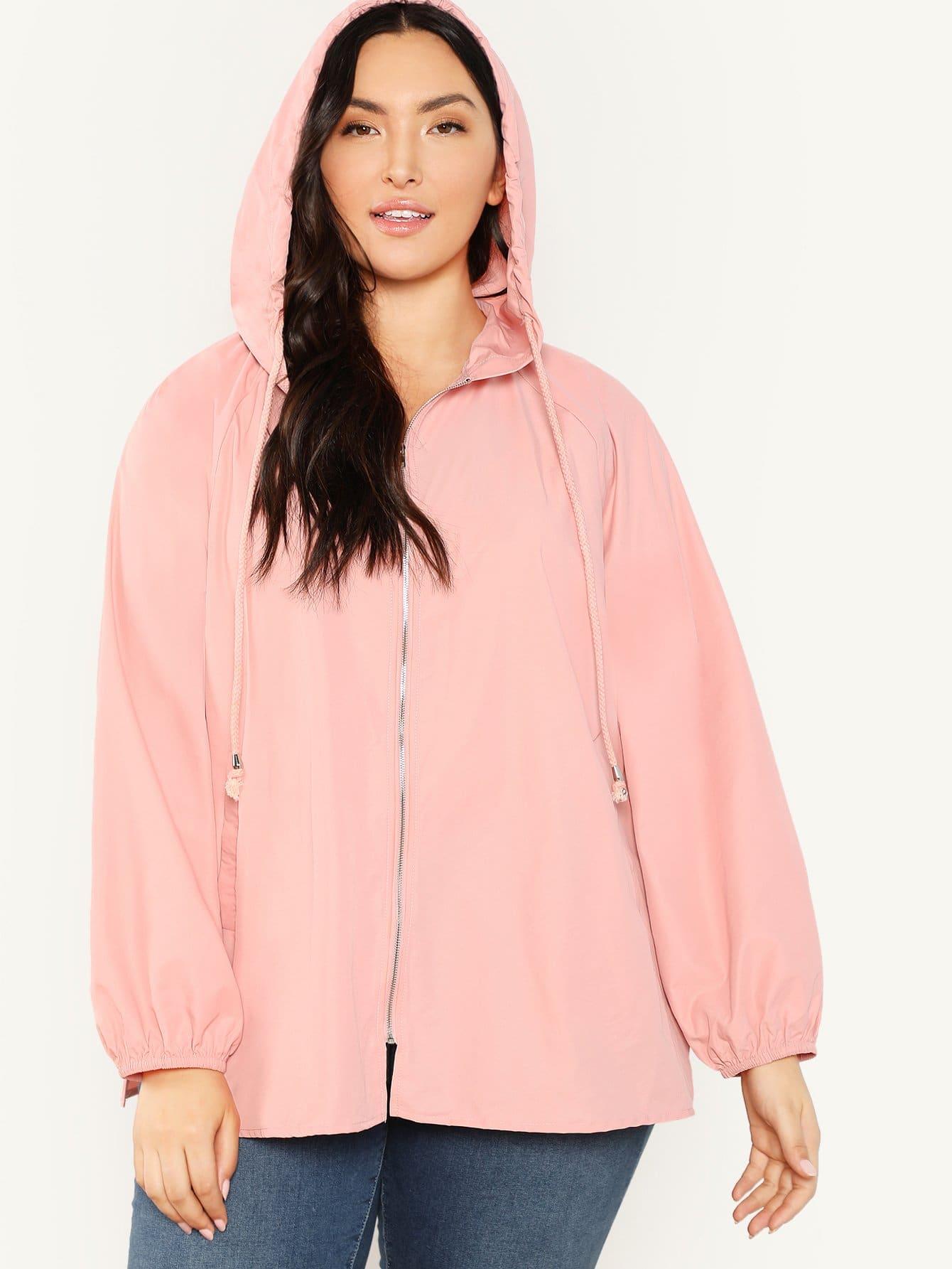 Купить Плюс размеры куртка с капюшоном с рукавом-регланом, Yumi, SheIn