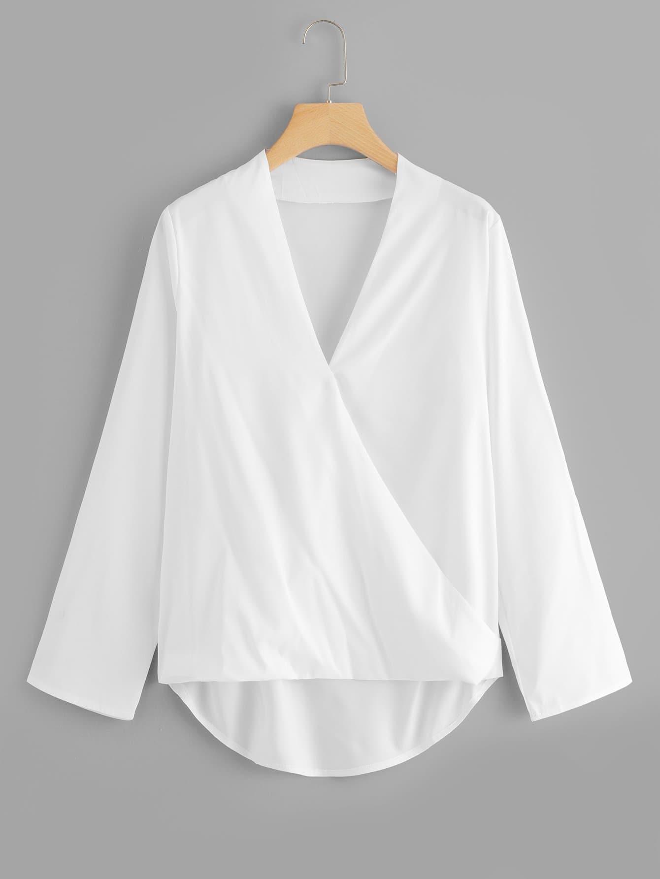 Купить Одноцветная блузка с асимметричным низом, null, SheIn
