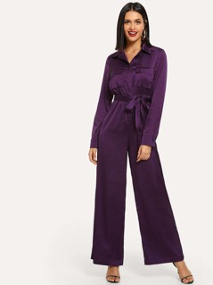 Pocket Patched Belted Collar Jumpsuit