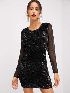 Mesh Back and Sleeve Sequin Dress