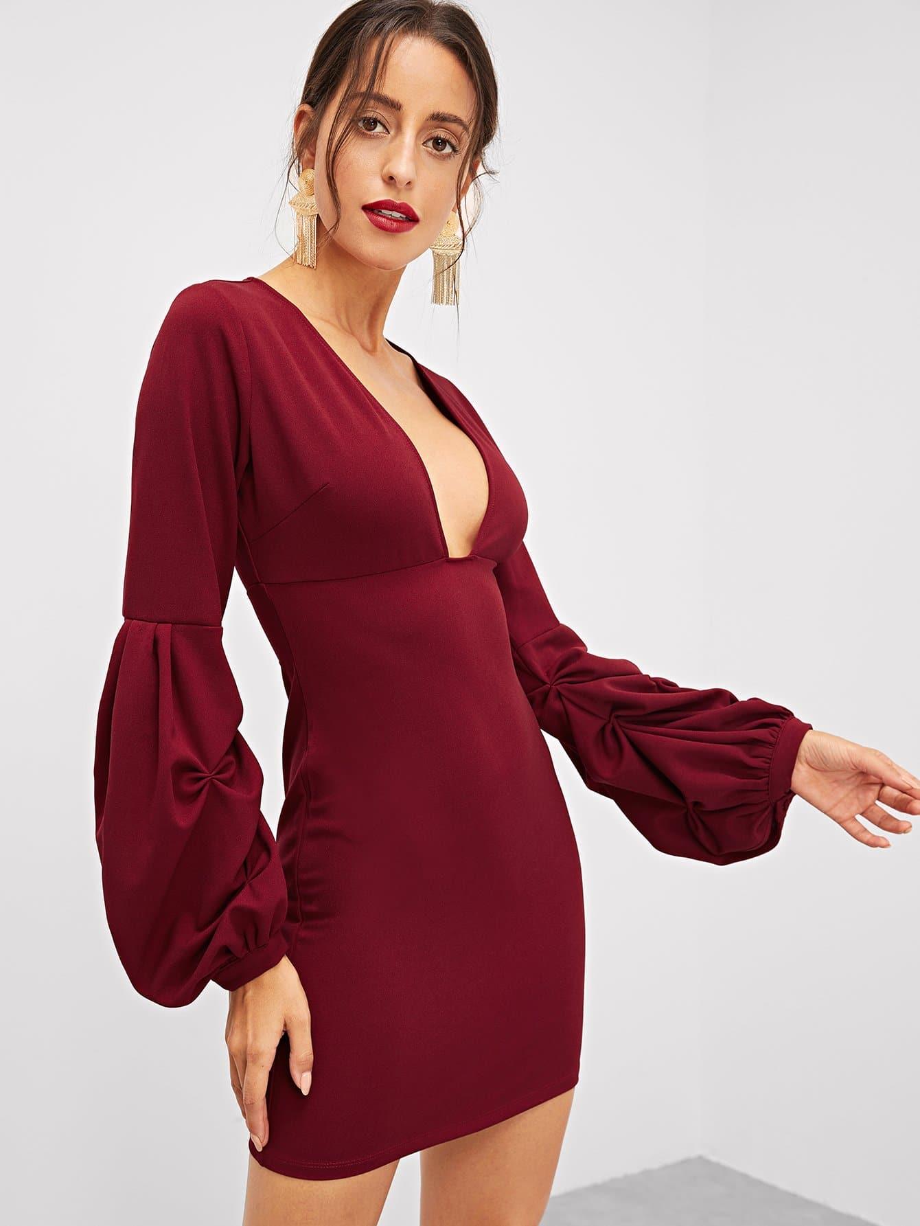 Купить Платье с v-образным вырезом с длинным рукавом, Mary P., SheIn
