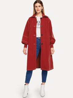 Button Up Contrast Stitch Longline Coat