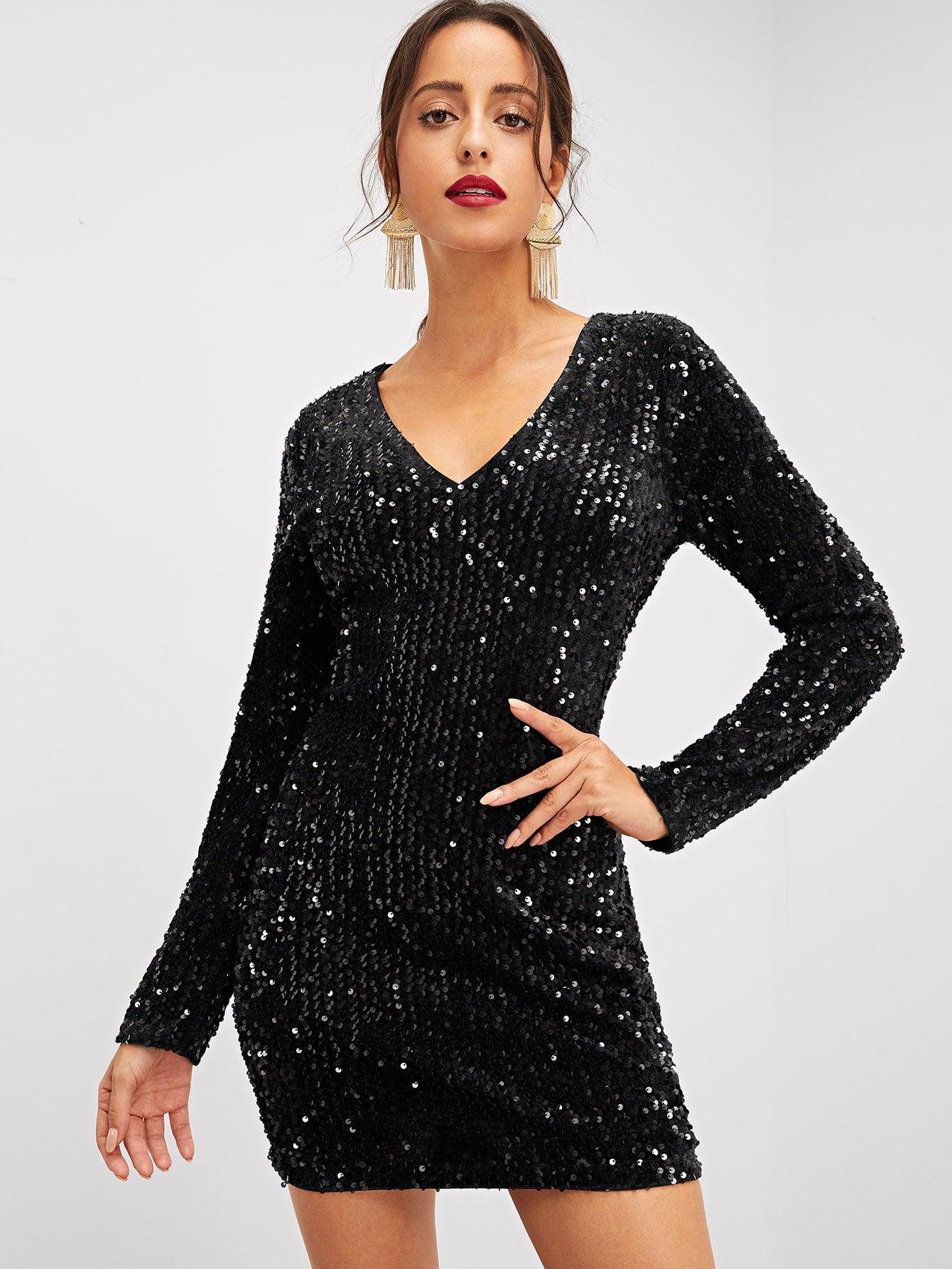 Купить Облегающее платье со блестками с v-образным вырезом, Mary P., SheIn